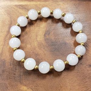 Gray Agate & Gold Hematite Beads Bracelet